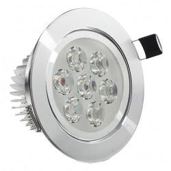 Spot LED 7x1W Rotund Mobil Argintiu