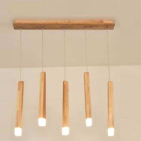 Lustra LED Lemn Cu 5 Pendule